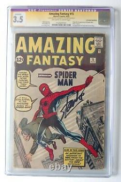 AMAZING FANTASY #15 CGC 3.5 Signed Stan Lee! Married 6th wrap! THE GRAIL
