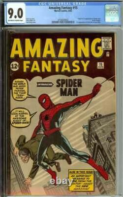 AMAZING FANTASY #15 CGC 9.0 OWithWH PAGES // 1ST APPEARANCE OF SPIDER-MAN