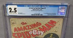 AMAZING SPIDER-MAN #1 (J Jonah Jameson & Chameleon 1st app) CGC 2.5 Marvel 1963