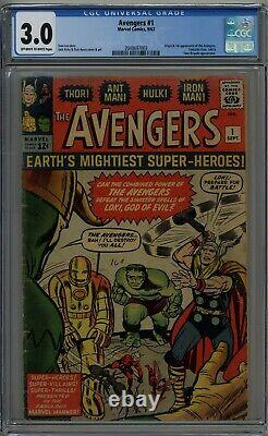 AVENGERS #1 CGC 3.0 1ST AVENGERS GREAT STARTER COPY OWithW PAGES 1963