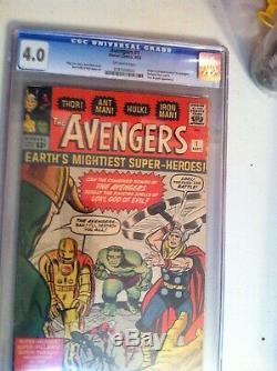 AVENGERS #1 CGC 4.0 KEY (1st appearance of Avengers & Origin) Sep. 1963 Marvel