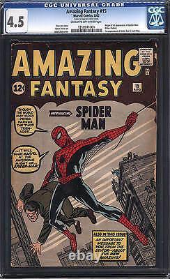 Amazing Fantasy #15 CGC 4.5 1962 Origin! 1st Spider-Man! Movie! D4 121 cm