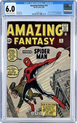Amazing Fantasy #15 CGC 6.0 Fine. Origin, 1st appearance Spider-Man Spiderman