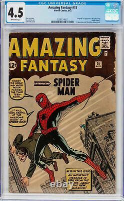 Amazing Fantasy #15 Cgc 4.5 Ow Pages Origin & 1st App Spider-man #1295114001