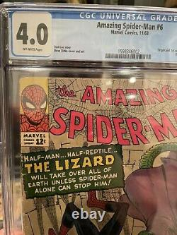 Amazing Spider-Man 6 Cgc 4.0 OW Graded First Appearance 1st App Lizard