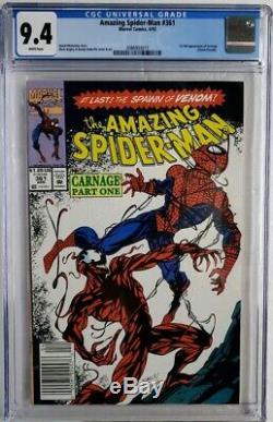 Amazing Spider-man #361 Cgc 9.4 1st App Carnage Venom Key Newsstand 1st Print