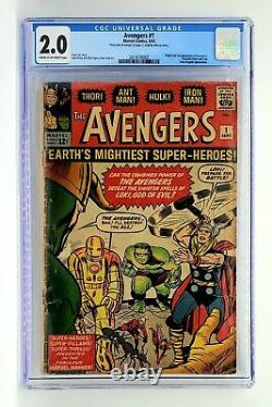 Avengers #1 CGC 2.0 1st App. Thor, Iron Man, Hulk, Ant-Man & Wasp. Loki