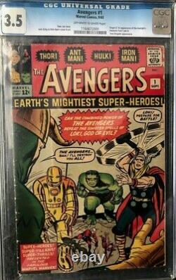 Avengers #1 CGC graded 3.5, OWithW pages, 1963, 1st appearance of Avengers