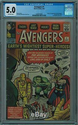 Avengers #1 Cgc 5.0 1st Avengers Solid Mid-grade Off-white Pages 1963