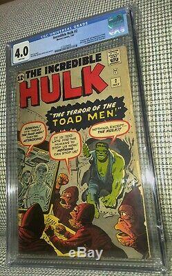 CGC 4.0 Incredible Hulk #2 White pages 1st Appearance Green Hulk & Toad Men 1962
