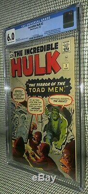 CGC 6.0 Incredible Hulk # 2 OW- White pages 1st Appearance Green Hulk & Toad Men