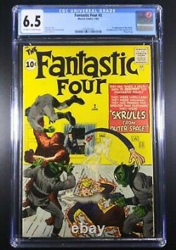 FANTASTIC FOUR #2 1962 CGC 6.5 1st Appearance of Skrulls High Grade Key 1962