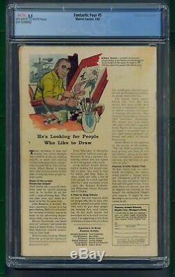 Fantastic Four #5 (1962) CGC Graded 3.5 Origin 1st Appear Dr. Doom Stan Lee