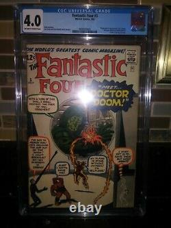 Fantastic Four #5 cgc 4.0 1st app doctor doom. Unpressed undergraded