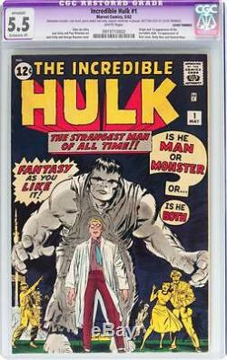 Hulk #1 CGC 5.5 (R) 1962 Avengers! Thor! Iron Man! WHITE pages! D12 912 cm