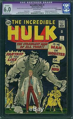 Hulk #1 CGC 6.0 (R) Marvel 1962 Key Silver Age! RARE! Avengers! C12 111 cm H10