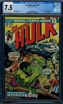 Hulk #180 CGC 7.5 Marvel 1974 1st Wolverine! Cameo! Before #181! H12 315 1 cm