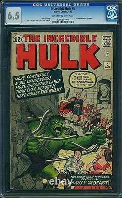 Hulk #5 CGC 6.5 1963 Avengers! E3 124 1 cm clean looking no writing on cover