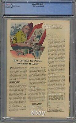 INCREDIBLE HULK #1 CGC 4.5 OWithWHITE PAGES PRESENTS LIKE 5.0
