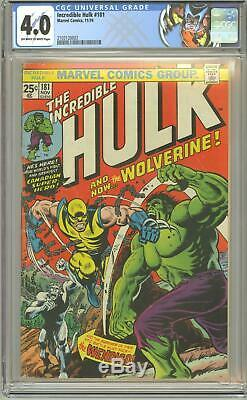 INCREDIBLE HULK #181 CGC 4.0 VG 1st FULL WOLVERINE APPEARANCE MARVEL COMICS 1974