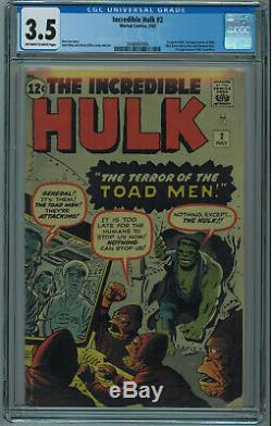 INCREDIBLE HULK #2 CGC 3.5 1ST GREEN HULK GREAT STARTER COPY OWithW PGS 1962