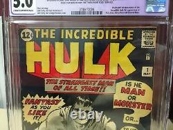 Incredible Hulk #1 1962 CGC 5.0 Restored C-2 Amazing Eye Appeal! Mega Key