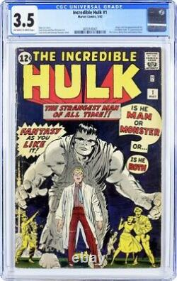Incredible Hulk #1 CGC 3.5 Marvel 1962 OWithW pages Key Silver Age