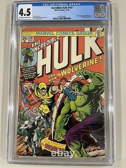 Incredible Hulk #181 CGC 4.5 VG- featuring the 1st full appearance of Wolverine