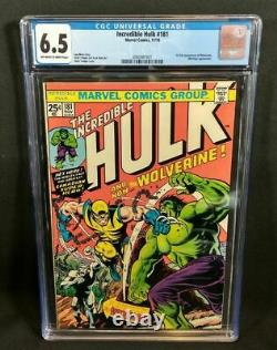 Incredible Hulk #181 CGC 6.5 owithw pages, 1st Full Wolverine, 1974 Marvel