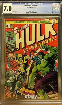 Incredible Hulk 181 CGC 7.0 First 1st Full Appearance Of Wolverine X-Men 180 182