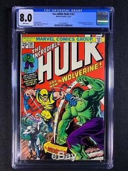 Incredible Hulk #181 CGC 8.0 (1974) 1st full app of Wolverine WHITE PAGES