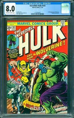 Incredible Hulk #181 CGC 8.0 1st full appearance of Wolverine