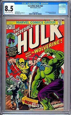 Incredible Hulk 181 CGC Graded 8.5 VF+ 1st Wolverine Marvel Comics 1974