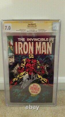 Invincible Iron Man 1 CGC SS 7.0 Signed By Stan Lee Silver Age Marvel Key