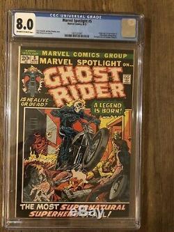 MARVEL SPOTLIGHT #5 CGC 8.0 OW-WP VF Marvel Comics 1972 1st app GHOST RIDER