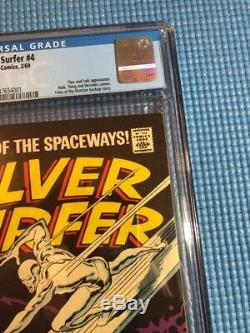 Silver Surfer #4 CGC 8.0 White Pages Marvel 1969 Thor VS Silver Surfer Loki App