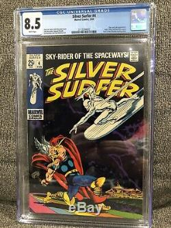 Silver Surfer 4 CGC 8.5 WHITE pages. Classic cover Battles Thor Avengers Disney