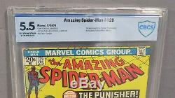 THE AMAZING SPIDER-MAN #129 (Punisher 1st app.) CBCS 5.5 FN- Marvel 1974 cgc
