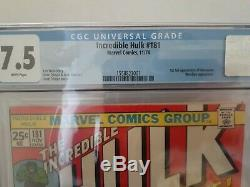 The Incredible Hulk #181 CGC 7.5 White pages 1st App of Wolverine