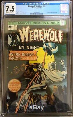 Werewolf By Night 32 CGC 4.5 + WWBN 33, Marvel Spotlight 28 + Moon Knight 1 & 25