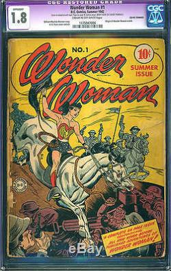 Wonder Woman #1 CGC 1.8 (R) DC 1942 After All Star #8! Golden Age Key! D4 116 cm